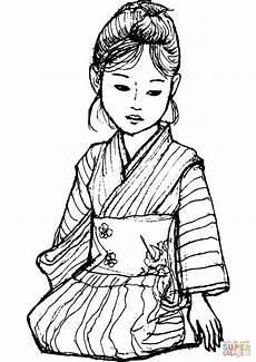 Age Malvorlagen Jepang Japanese In Kimono Coloring Page Free Printable
