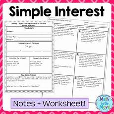 percents simple interest notes task cards and a problem solving worksheet word problems