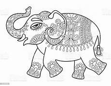 ethnic indian elephant line original drawing adults
