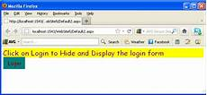 display and hide a login form using jquery