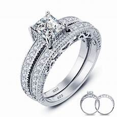 ustyle vintage style victorian 1 carat created real sterling 925 silver 2 pc wedding engagement