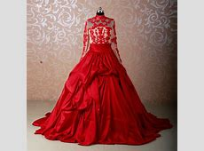 RSW578 Long Sleeve Muslim Red Wedding Dresses Ball Gowns