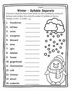 winter ela worksheets 19991 syllables winter grammar winter activities winter winter ela