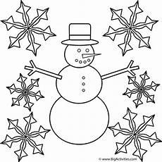 Ausmalbilder Winter Schneemann Snowman With Snowflakes Coloring Page Winter
