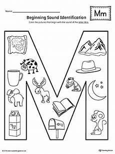 initial letter m worksheets 24302 letter m beginning sound color pictures worksheet myteachingstation