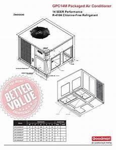 2 ton goodman heat kit wiring diagram 2 0 ton goodman 14 seer r 410a package unit gpc1424m41 flow or horizontal ebay