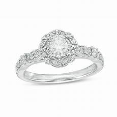 5 8 ct t w diamond frame vintage style engagement ring in 14k white gold from this moment