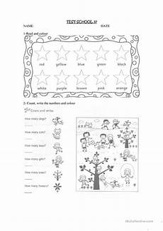 colors worksheets isl collective 12728 test on colours numbers and school objects worksheet free esl printable worksheets made by