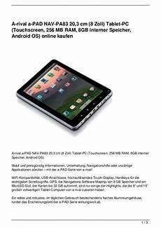 a rival a pad nav pa83 20 3 cm 8 zoll tablet pc