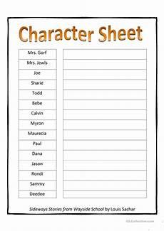 sideways stories character sheet worksheet free esl printable worksheets made by teachers