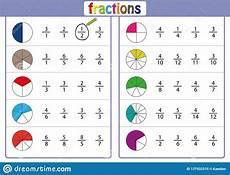 circle the correct fraction mathematics math worksheet stock illustration illustration of
