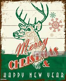 merry christmas vintage wooden painted sign design with deer head high res vector graphic