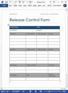 release control form ms word software testing