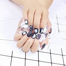 24pcs set short full half moon false nails pre designed