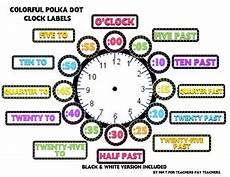 colorful polka dot clock labels math ideas clock