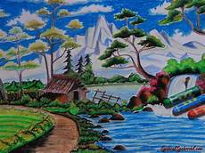 Lukisan Dari Crayon Atau Pastel Lukisan Dengan