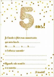 Carte D Invitation D Anniversaire 5 Ans