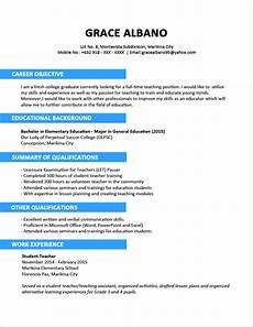 sle resume format for fresh graduates two page format jobstreet philippines