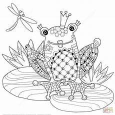 ausmalbild zentangel froschk 246 nig ausmalbilder kostenlos