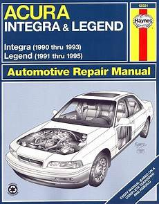 car repair manuals download 1995 acura tl engine control acura repair manual integra 1990 1993 legend 1991 1995 haynes