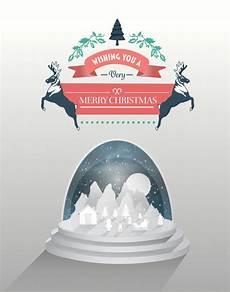 merry christmas vector with snow globe premium photo