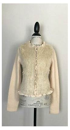 anthropologie moth icing age faux fur boiled wool jacket m