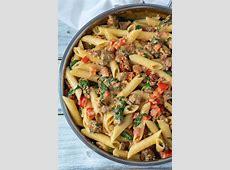 creamy pasta   tomato with italian sausage_image