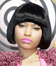 nicki minaj short straight casual bob hairstyle with blunt