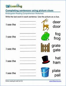 free preschool kindergarten reading comprehension worksheets k5 learning