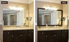 diy bathroom makeover with a mirror frame easy but pretty before after mirror frames