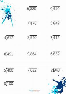 digit division math worksheet three digit dividend with one digit quotient printable