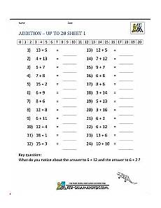 addition worksheets for grade 2 9521 math addition facts to 20