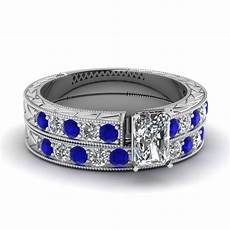 radiant diamond vintage pave wedding ring with sapphire in 950 platinum fascinating diamonds