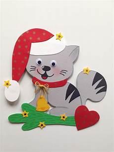fensterbild tonkarton katzenweihnacht winter weihnachten