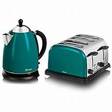 swan teal stainless steel 1 7 litre jug kettle and 4 slice