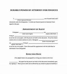 durable power of attorney forms 7 free sles exles formats