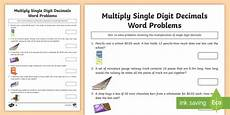 decimals word problems worksheets grade 6 grade 6 multiply single digit decimals word problems worksheet worksheet