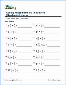 grade 5 fractions worksheet adding mixed numbers to fractions fractions worksheets fractions