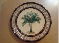 "Pacific Rim China Plates (3), Palm Tree 8.75"" Diameter EUC"