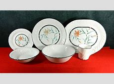 """49 PCS (SET FOR 11 ) OF CORNING/CORELLE WARE """"TIGER LILY"""