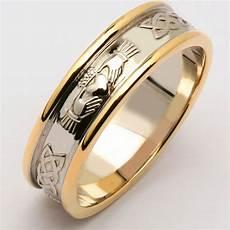 irish wedding ring men s 14k two tone yellow white