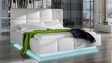 Lit Design Blanc 160x200 Cm Avec 233 Clairage Led Winston