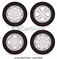 roue de voiture dessin vector illustration of car wheel collection four car tires with alloy wheels of csp3176012