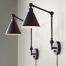 360 lighting modern industrial up down swing arm wall lights set of 2 ls dark brown sconce