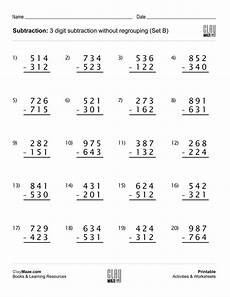 free printable math worksheets subtraction with regrouping 10677 3 digit subtraction worksheet no regrouping no borrowing subtraction worksheets