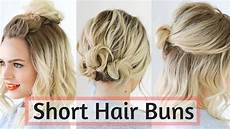 quick bun hairstyles for short medium hair hair tutorial youtube