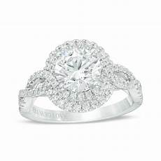 vera wang love collection 2 ct t w certified diamond frame twist engagement ring in 14k white