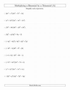 8 3 practice multiplying binomials form g multiplying a binomial by a trinomial a