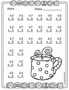 winter multiplication worksheets grade 3 4825 two digit multiplication with regrouping winter themed matematicas tercero de primaria hojas