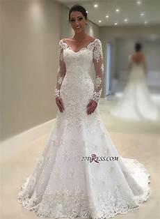 elegant long sleeve wedding dress 2019 mermaid lace